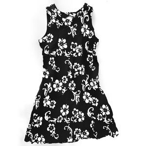 Black & White Hibiscus Mini Mumu